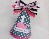 Sailor Girl Pink Whale birthday party hat in navy blue, Bubble Gum Pink and White Polka Dot