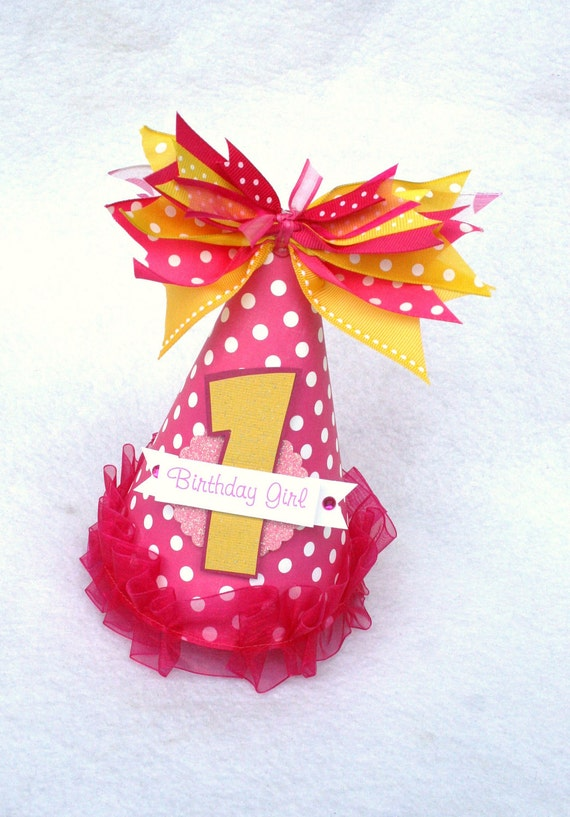Pink Lemonade Birthday Party Hat in Hot Pink and Yellow Polka Dot