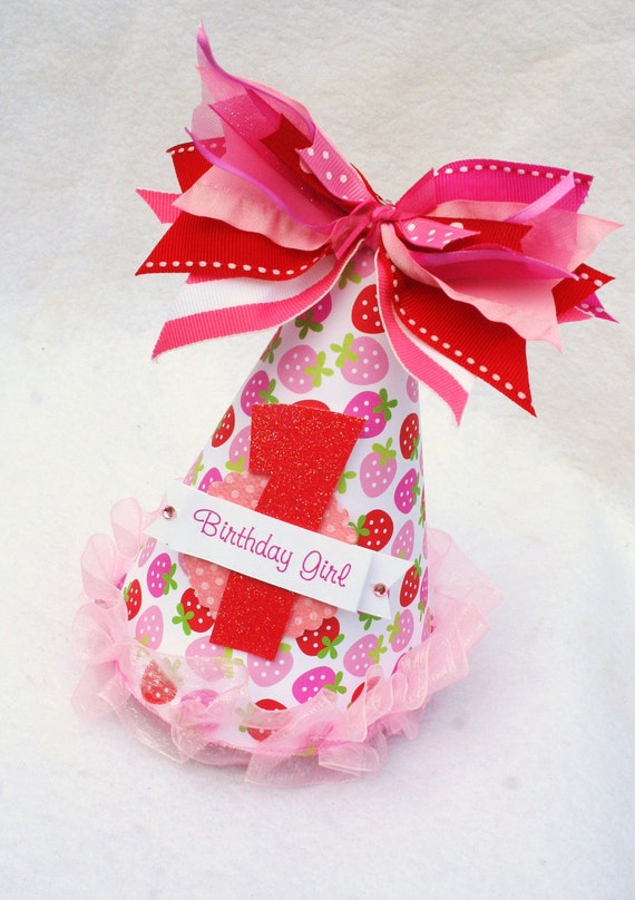Strawberry Party Hat in Pink and Red LAST ONE