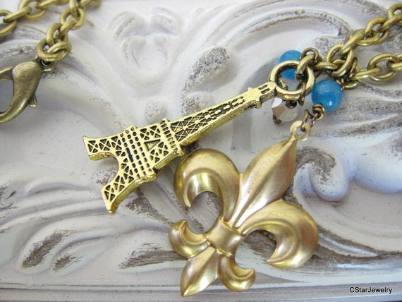 Eiffel Tower and fleur de lys Paris romantic blue gold color  brass necklace