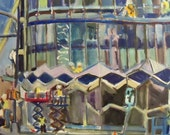 oil painting of New building on Glebe Road