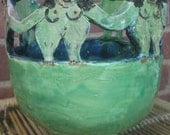 blue and green dancing lady bowl