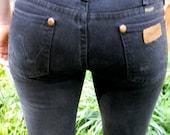 90s Perfect Basic Black Skinny Wrangler Jeans Sz 28