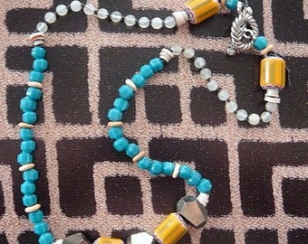 fool's gold trade bead necklace