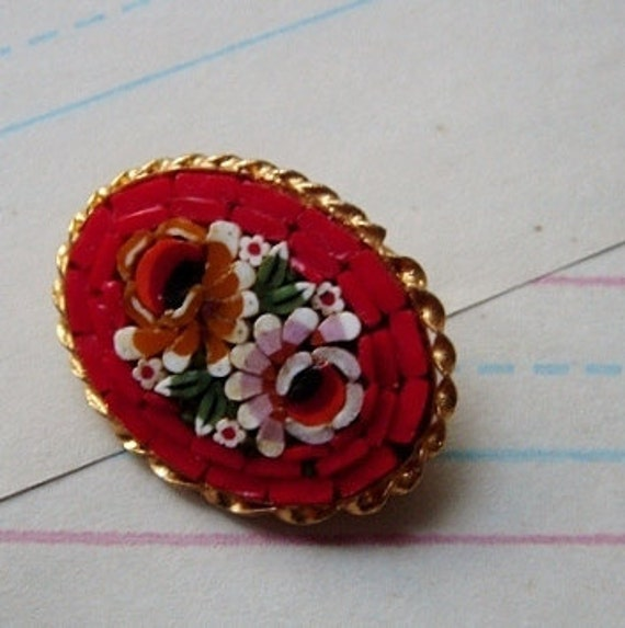 reserved for roksana, vintage brooch, scarlet micro mosaic florals