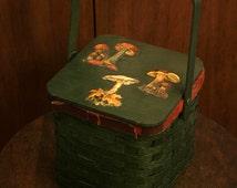 Forest Green Wicker Mushroom Tote