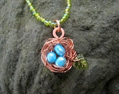 RESERVED FOR -dvrc---Pretty Copper Nest Beaded Necklace