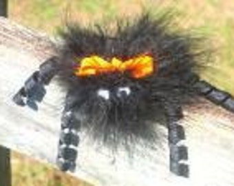 Fuzzy Spider Ribbon Sculpture, Spider Ribbon Sculpture, Halloween Bow, Spider Bow, halloween clip, Halloween Ribbon Sculpture, Spider