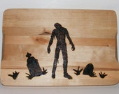 Slow Zombie in Graveyard Cutting Board Wood Burning Pyrography