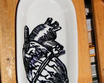 Black Heart Knick Knack Tray - Handpainted - Candleholder - spoonrest
