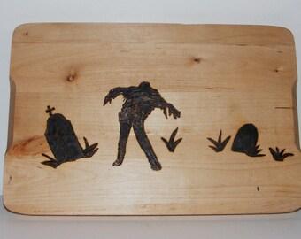 Shambling Zombie in Graveyard Cutting Board Wood Burning Pyrography