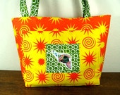 Beach Bag-tote - reversible in yellow and orange suns