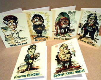 Mike Hoffman Halloween Horror Retro Wacky Bubblegum Invitations Greeting Cards SIX MONSTER CARDS