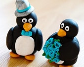 Penguins with hat or veil and custom flower colors Statues or CAKE TOPPER