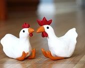 Hen and Rooster statues or cake topper
