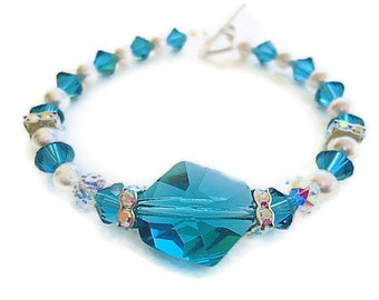 Swarovski elements bracelet indicolite bangle cuff sterling silver and pearls fwb sterling satin heart clasp weddings