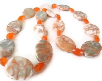 Carnelian beaded necklace gemstone and red line marble orange autumn fall handmade jewelry