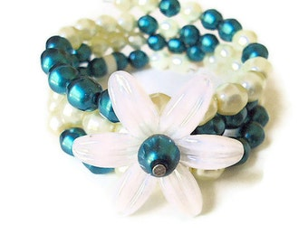 Memory wire beaded bracelet with freshwater pearls teal cuff bangle lucite flower