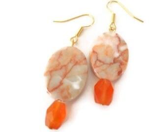 Carnelian dangle earrings gemstone and red line marble orange
