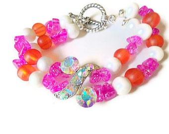Beaded bracelet cuff bracelet bangle bracelet austrian sparkly crystal fuschia orange white satin coated beads