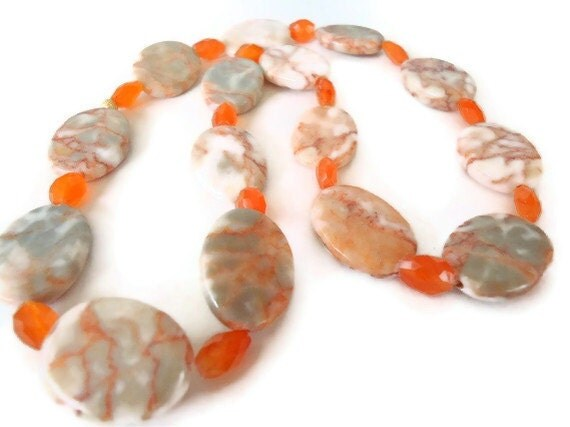 Carnelian beaded necklace gemstone and red line marble orange autumn fall handmade jewelry