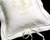Irish Linen Ring Bearer Pillow Embroidered with  monogram and wedding date