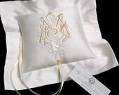 Small Silk Ring Bearer Pillow, Monogrammed Ring Bearer Pillow, Style 4211