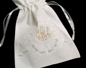 Irish Linen Jewelry Bag, Personalized Gift Bag, Monogrammed Jewelry Pouch