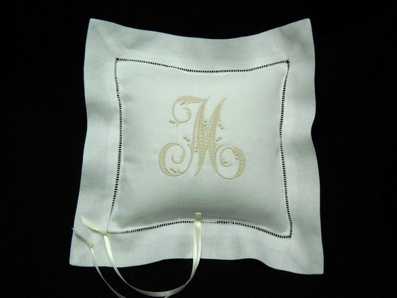 Irish Linen Ring Bearer Pillow with delicate hemstitch Personalized with Single Letter Monogram