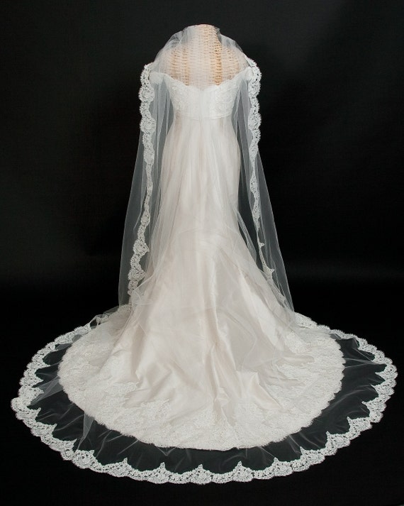 Cathedral Length Bridal Veil embellished with French Alencon Lace