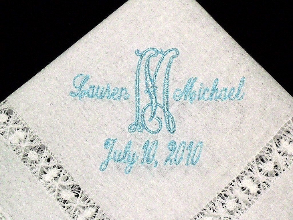 Irish linen wedding handkerchief embroidered with initial