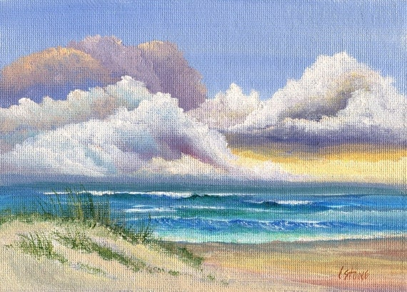 Original Fine Art Seascape Painting on Artist Canvas Panel, Thunder Clouds Ocean and Sand Dunes,  5 x 7 Inches, THUNDER
