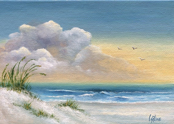 Original Painting Seascape Art on Artist Canvas Panel, Ocean, Seagulls  and Sand Dunes,  (Not a Print), 5 x 7 Inches, MINI EASEL INCLUDED