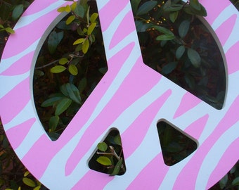 Hand Painted Pink Zebra Wooden Peace Sign