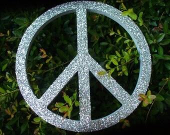 Glitter Peace Sign-Silver