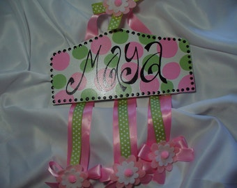 Custom Personalized Plaque Style Hair Bow Holder