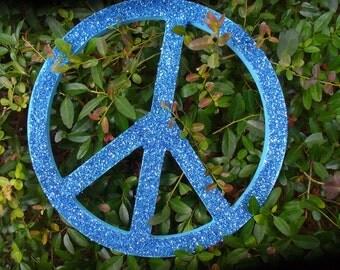 Glitter Peace Sign-Lt. Blue