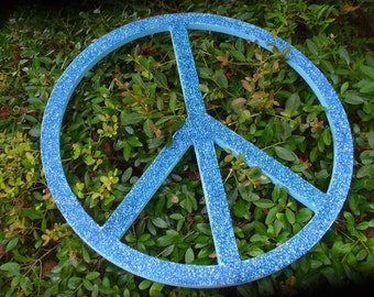 Giant Glittered Wooden Peace Sign-Large Glitter Peace sign