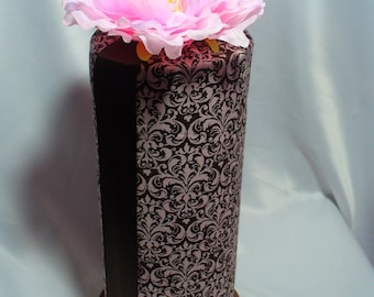 Head Band Holder Organizer Pink and Brown Damask Headband Holder with a Clippie Holder display
