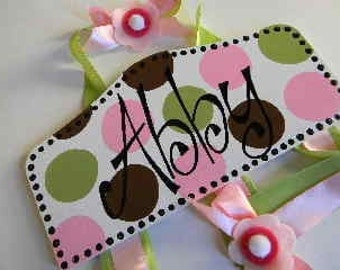 Plaque Style Hair Bow Holder-Pink,Brown,Green Personalized