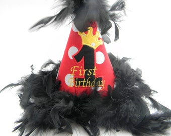 Boutique Style Birthday Party Hats-Red Polka Dots