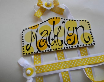 Plaque Style Hair Bow Holder-Sunny Yellows Personalized