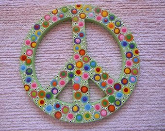 Hand Painted Wooden Polka Dotted Peace Sign