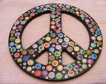 Funky/Fabulous Wooden Polka Dotted Peace Sign