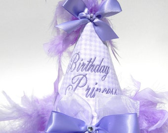 First Birthday Party Hats-Lavender Purple Gingham