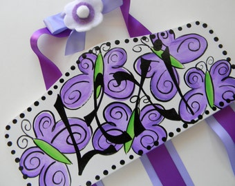 Personalized bow holder - Name Bow Holder - Plaque Hair Bow Holder Butterflies in Lavender