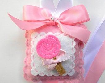 Sweet Felt Pink Lollipop Hair Bow Holder