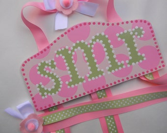 Hair Bow Holder-Monogrammed Pink dot