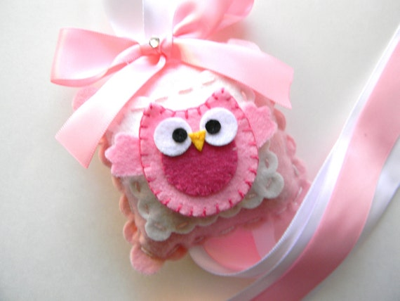 Felt Pink Owl Hair Bow Holder-bow holder-hair clip holder-barrette holder