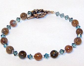 Labradorite and Crystal Bracelet - Moody Blue Puddles